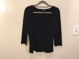 Cable & Gauge 3/4 sleeve Simple and Elegant Black Stretchy Blouse, Size S image 1