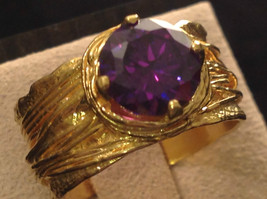 CZ amethyst 14K Gold Plated Sterling Silver Textured Band Size Choice 7 or 8