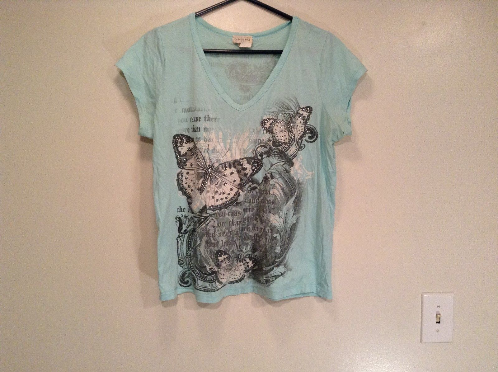California Girls Short Sleeve Light Blue Shirt Butterflies and Crystals Size XL