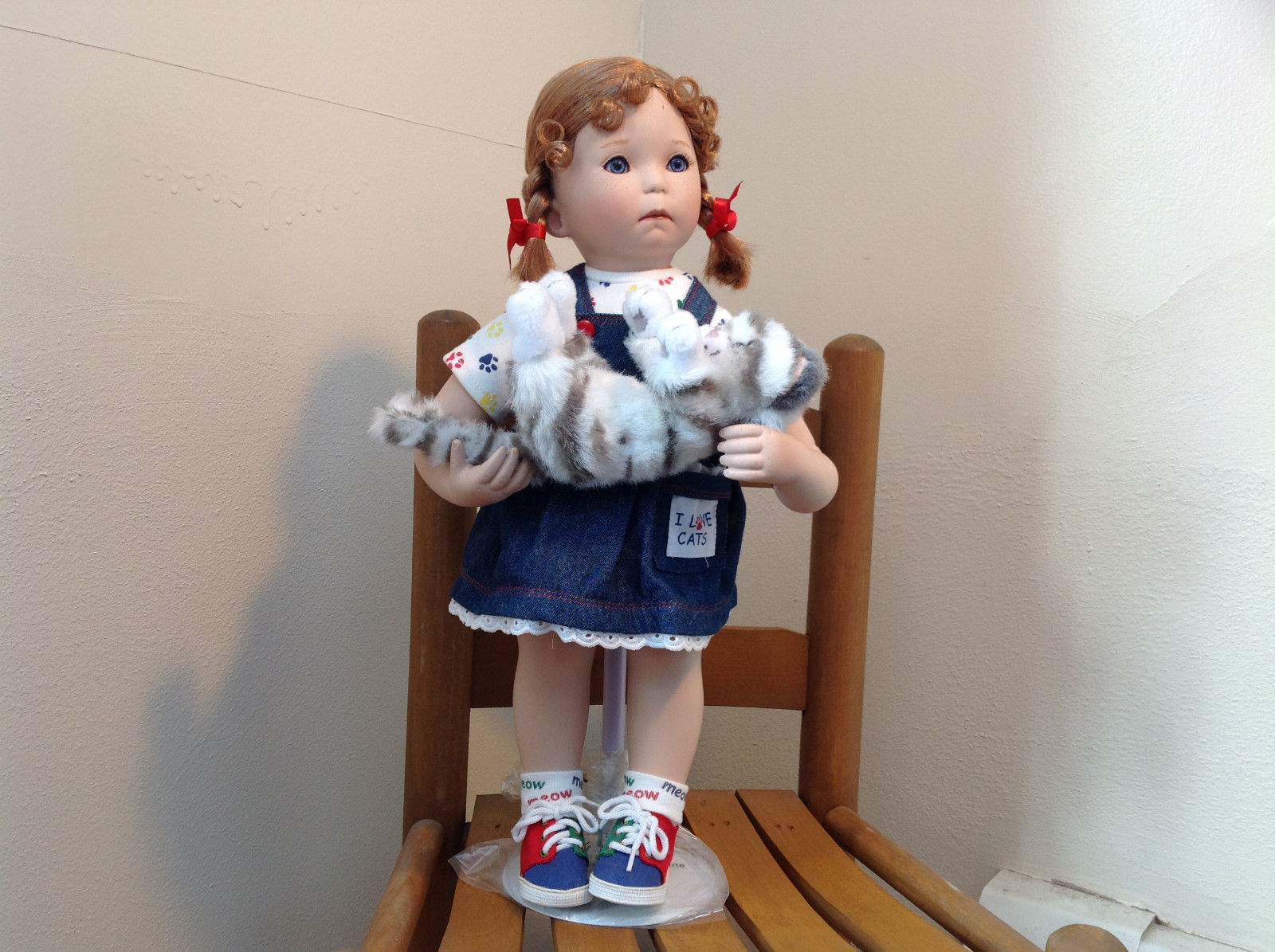 Can I Keep Her? Doll by Donna RuBert Porcelain 16 Inches Tall on Stand w cat