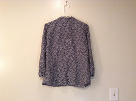 Black White Leaves Pattern Ruffled Front Button Up Blouse Size M 8 to 10 George image 2