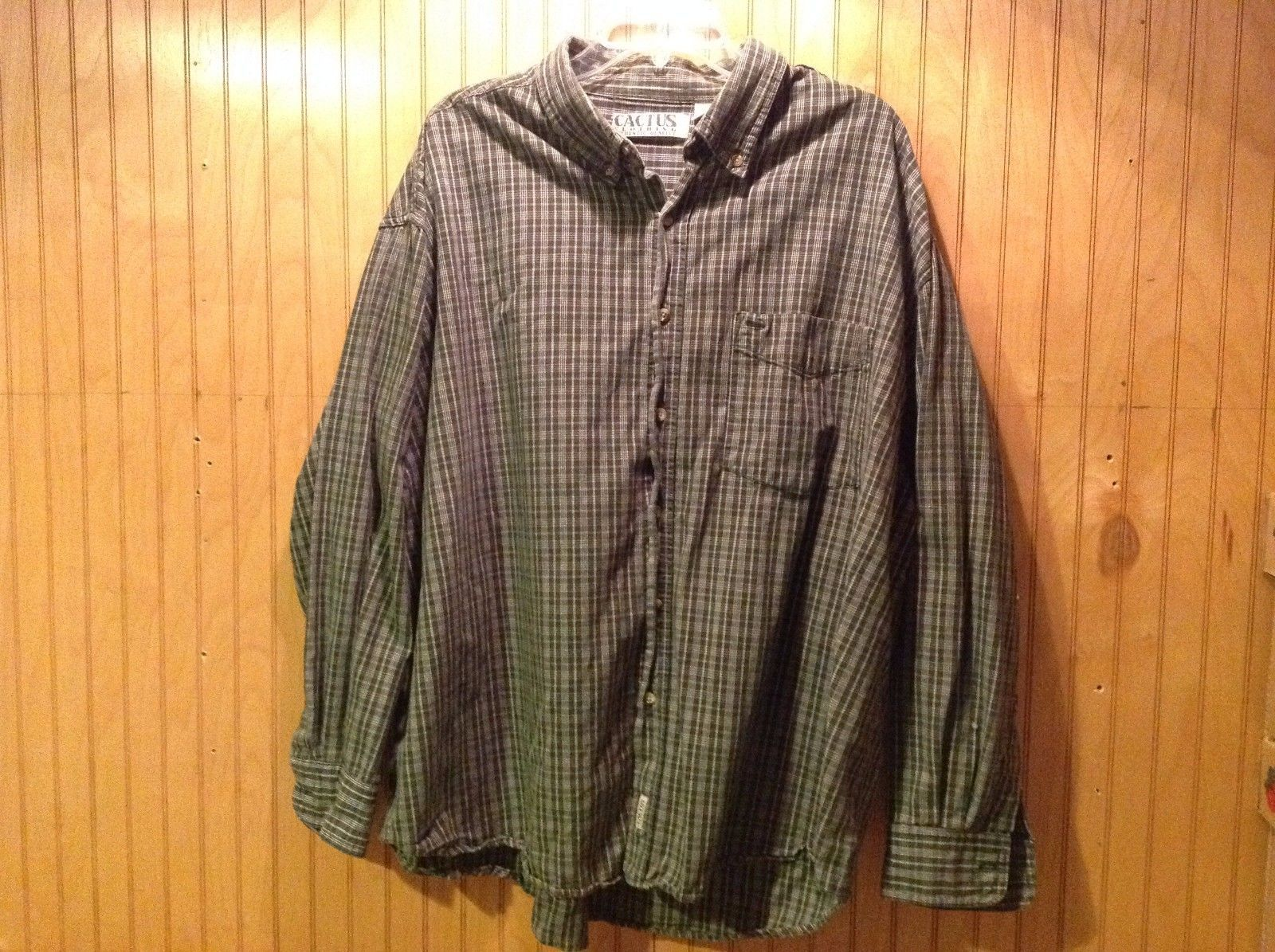 Cactus Clothing Authentic Quality Long Sleeve Shirt 2XL Cotton Plaid Green