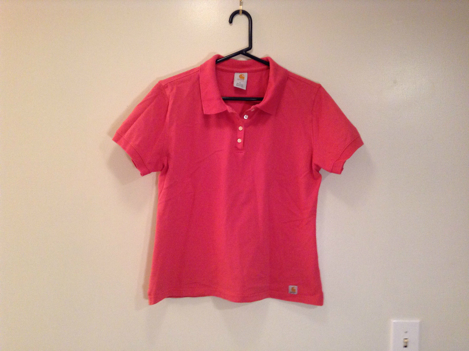 Carhartt Size Large Red Short Sleeve Cotton Blend Polo Shirt