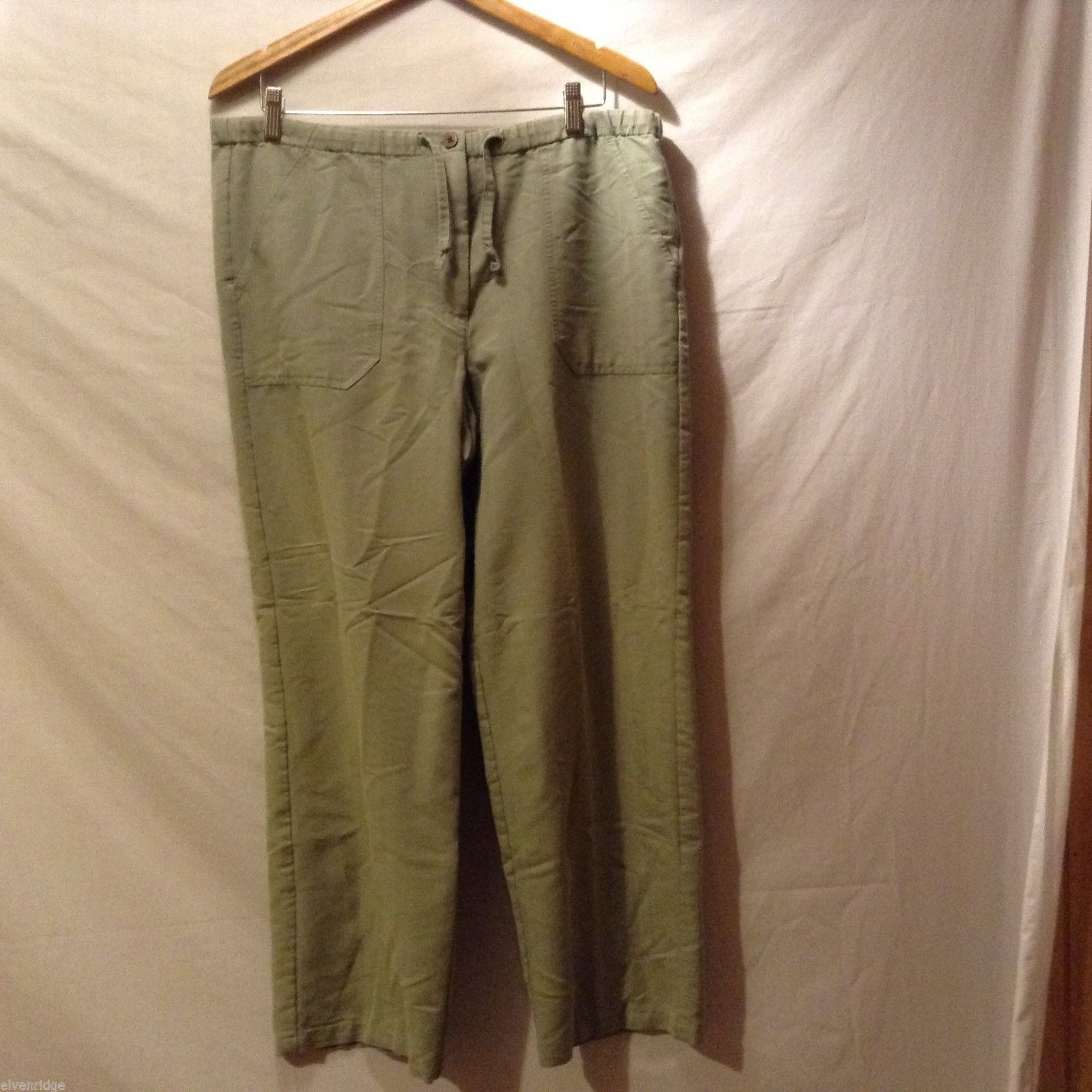 Caribbean Joe Womans Olive Green Pants, Size Medium