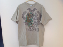 Caribbean Side Olive Green Graphic Tribal Cancun T-Shirt Size Large