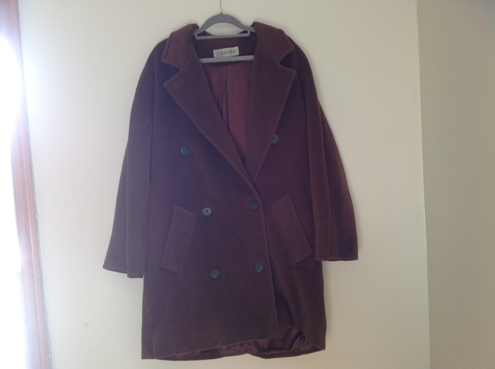 Calvin Klein Brown Button Up Peacoat Front Pockets Double Breasted Size 8