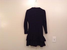Black  Winter Dress Long Sleeves Sketches Christine Jaguin Ruffled Bottom Size 6 image 2