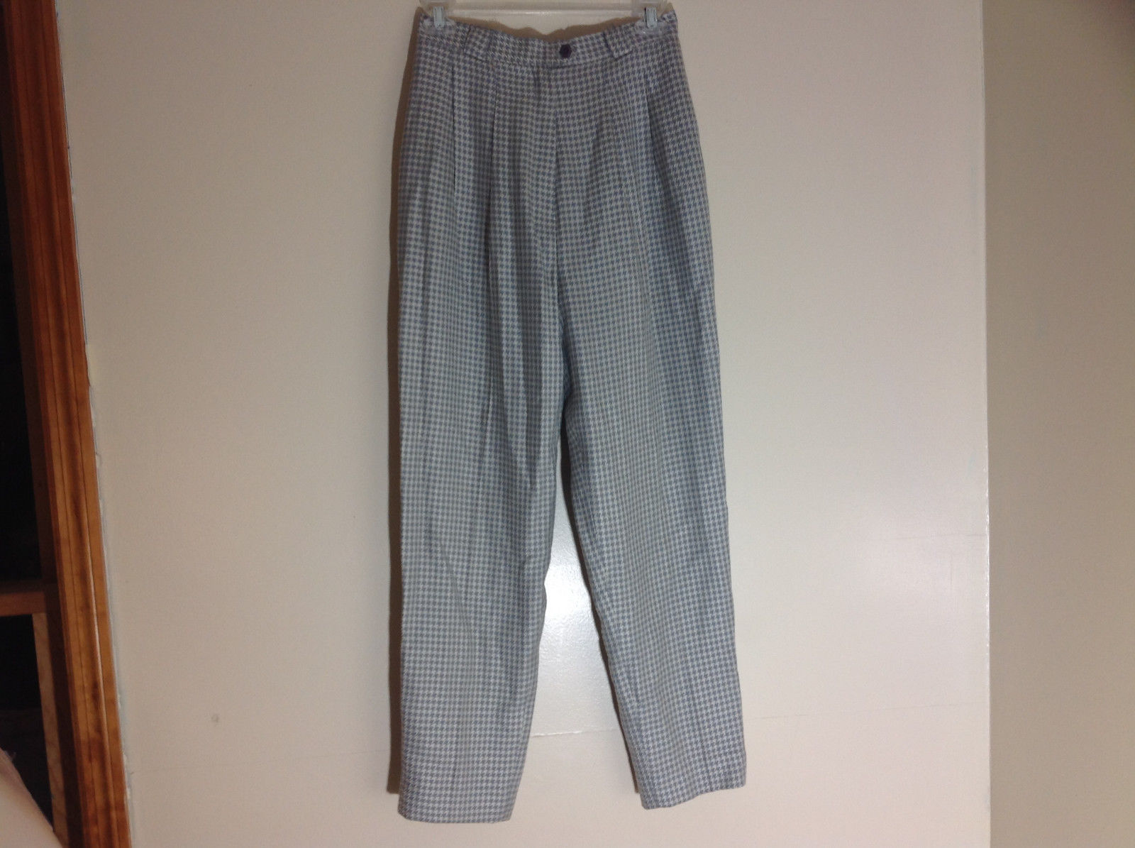 Calliope Light Blue and White Hounds-Tooth Pleated Dress Pants Size 8