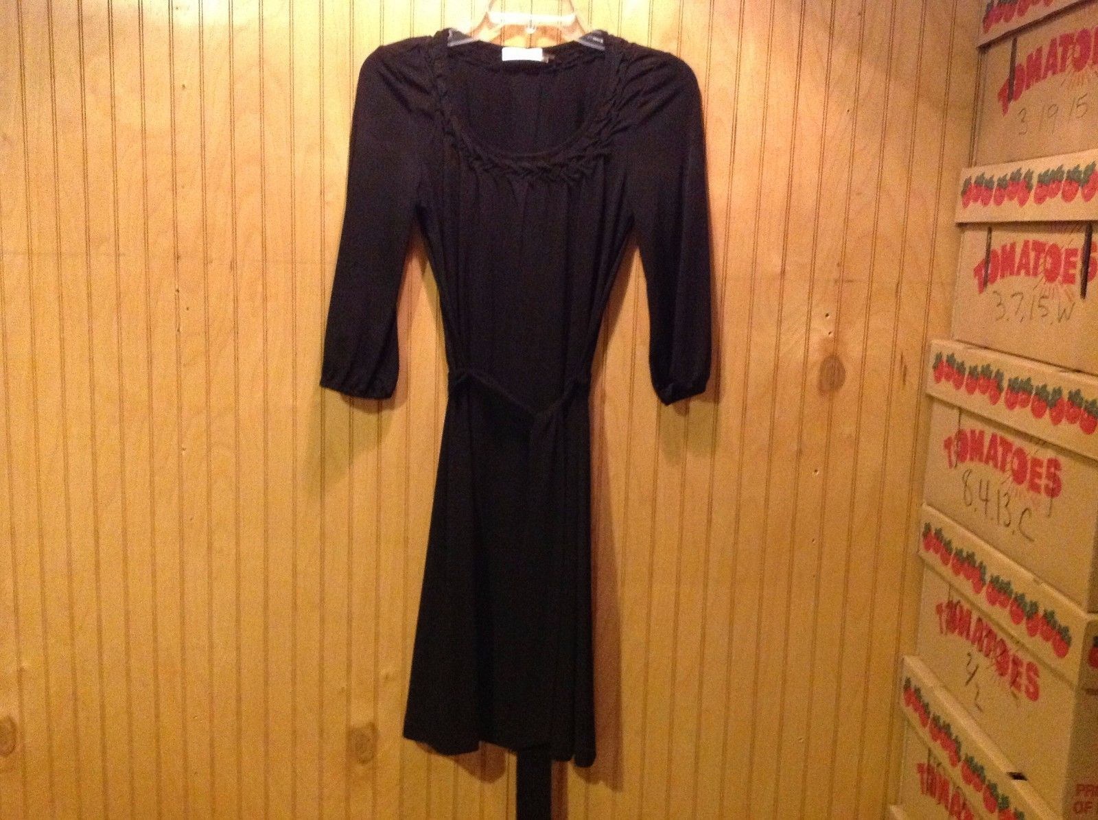 Calvin Klein Black Dress Short Elbow Length Sleeves