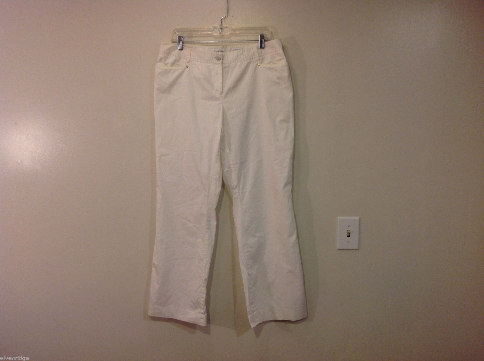 Calvin Klein Ladies Stretch Casual White Pants, Size 10, Unlined