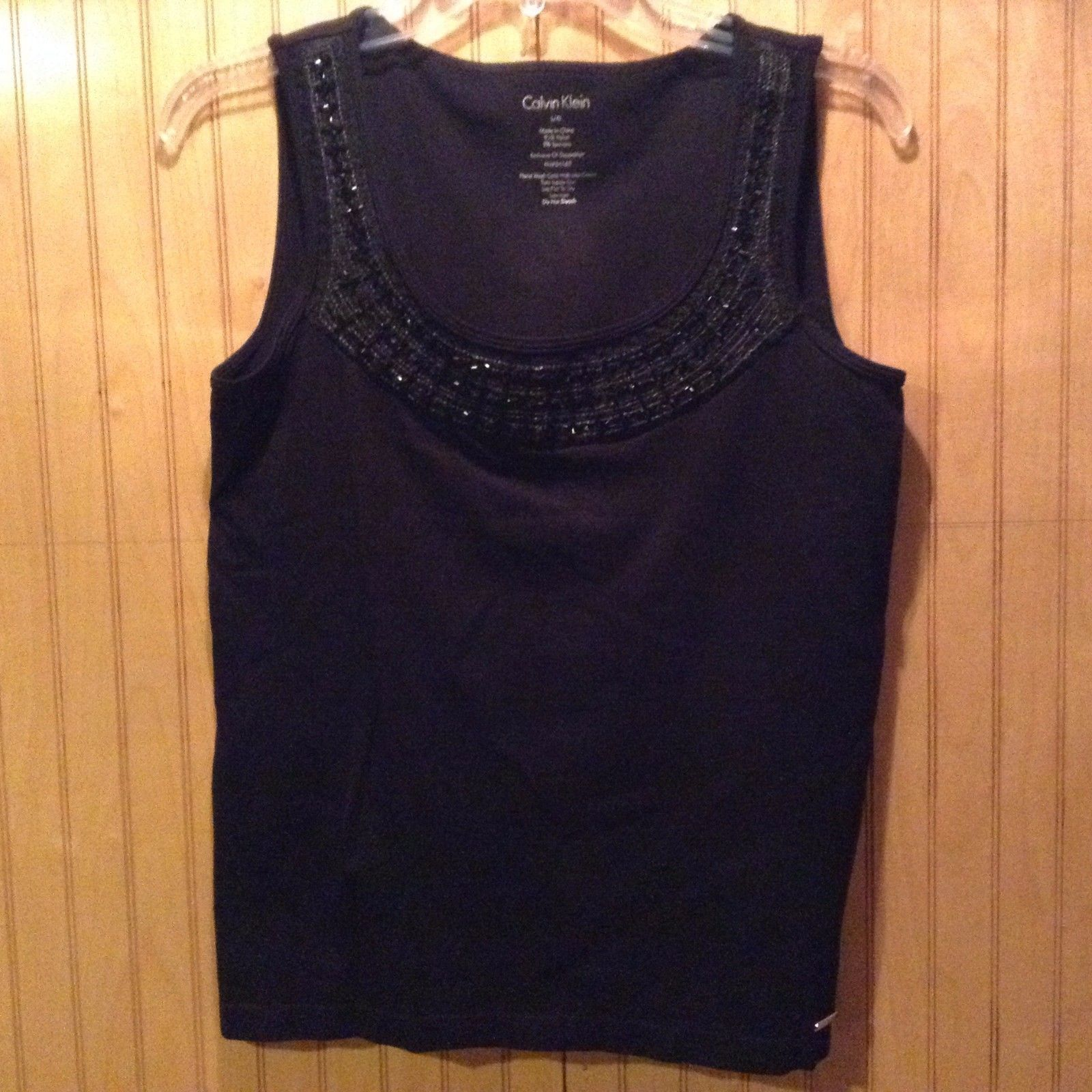 Calvin Klein Black Sleeveless Shirt Women Size Large