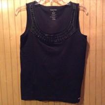 Calvin Klein Black Sleeveless Shirt Women Size Large