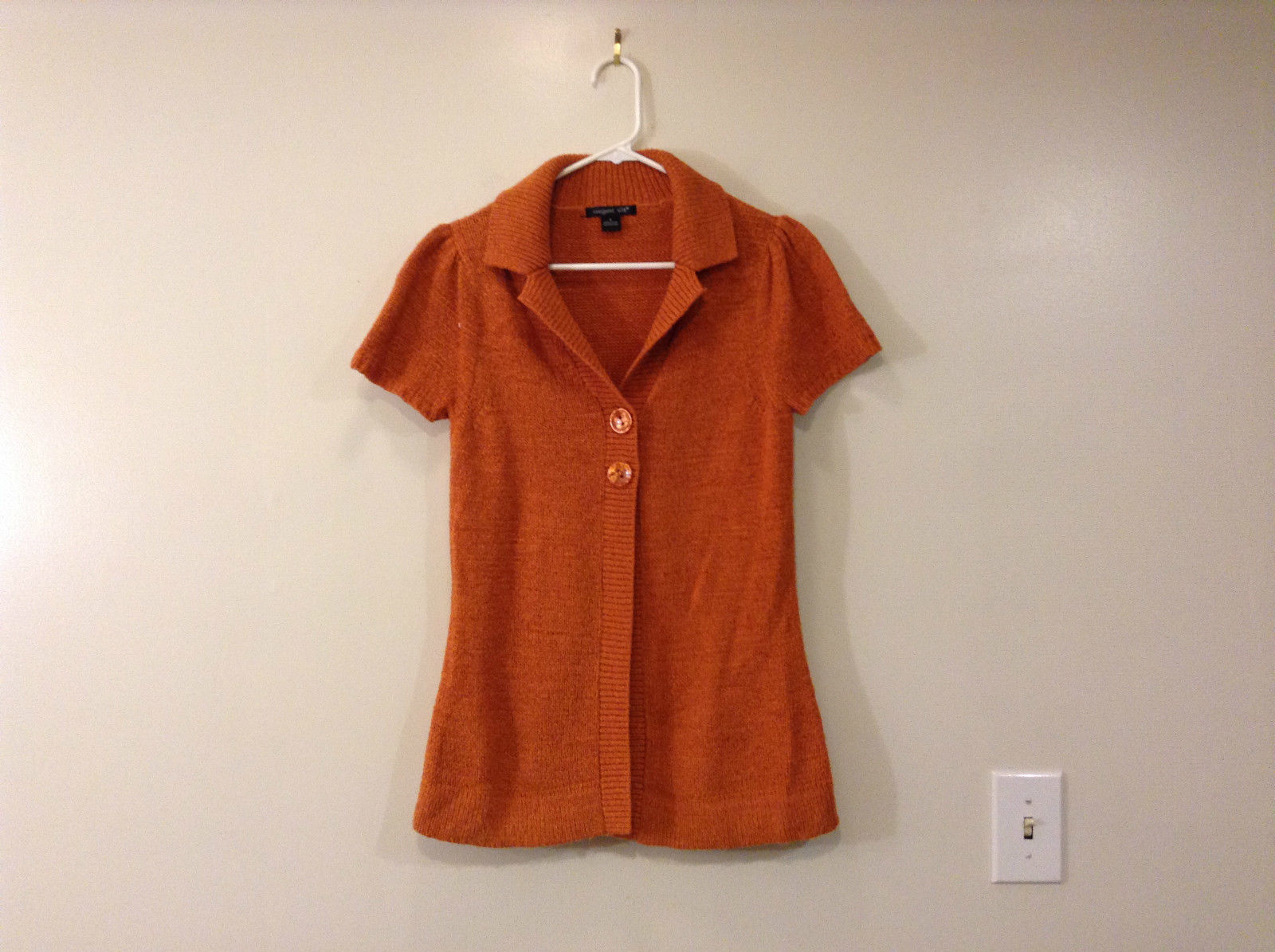 Calm Orange Red August Silk Knitted Short Sleeve Sweater V Neck Size Small