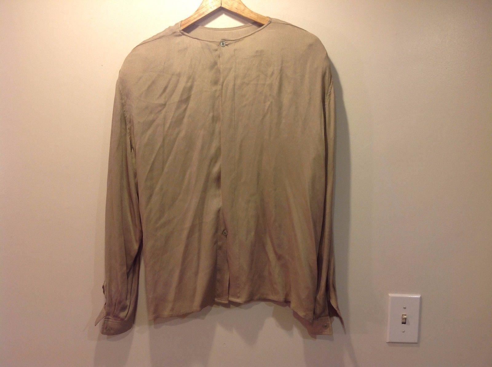 Calvin Klein Tan Long Sleeve Top Silk Women  blouse