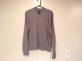 Calvin Klein V Neck Gray Long Sleeve 100 Percent Cotton Sweater Size Large