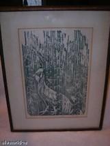 "Campitelli 4/100 ""Jungle Fowl"" Wood cut print in green"