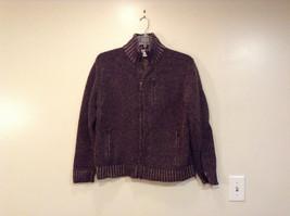 Calvin Klein Zipper Wool Dark Brown Light Brown Knitted Jacket Size Large