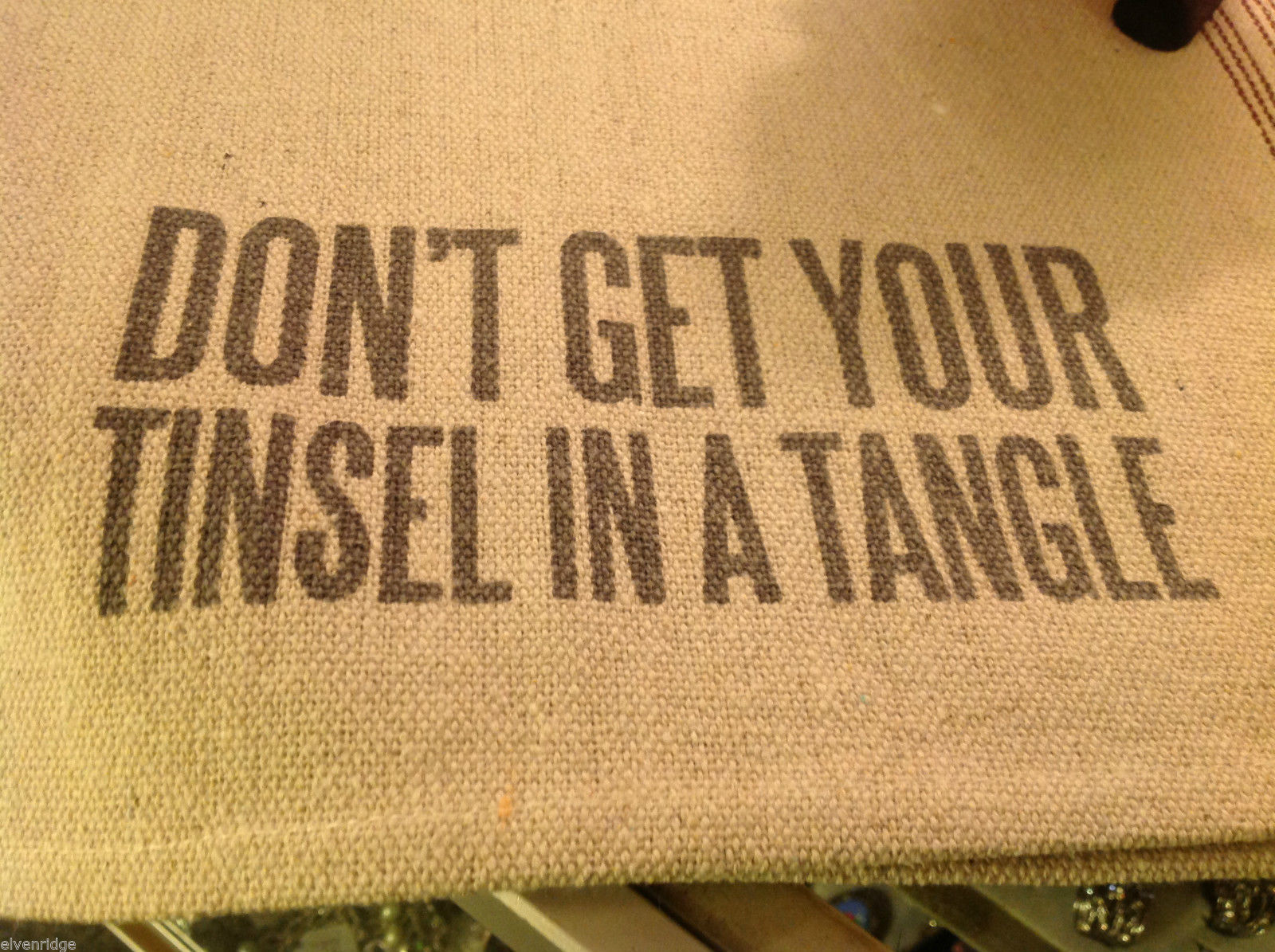 Canvas Burlap Pillow primitive w Don't Get your Tinsel in a Tangle holiday