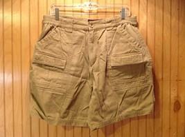 Canyon Guide Outfitters Dark Khaki Cargo Shorts Size Large Elastic Waistband