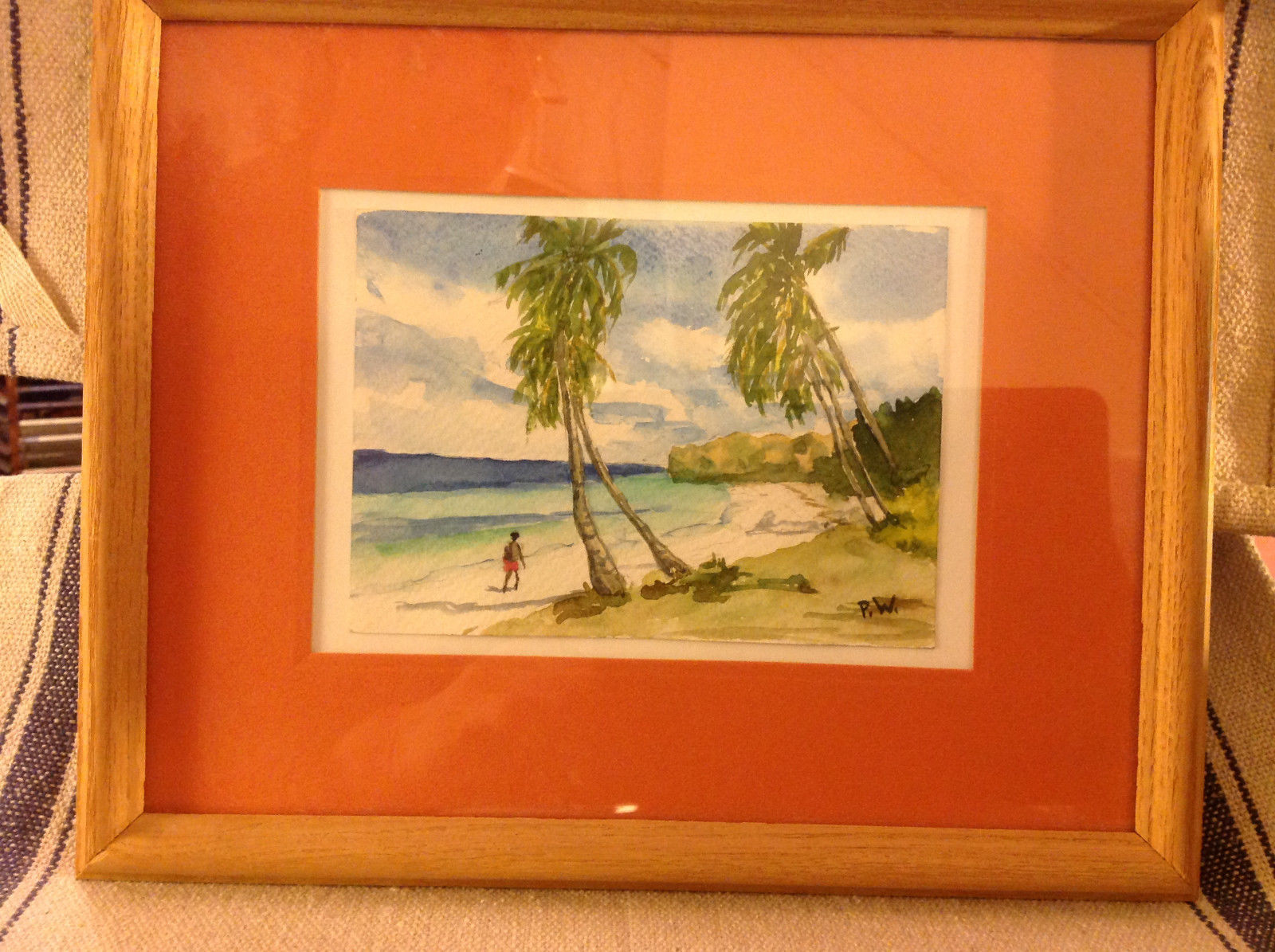 Caribbean water color framed Pamela Wright beach