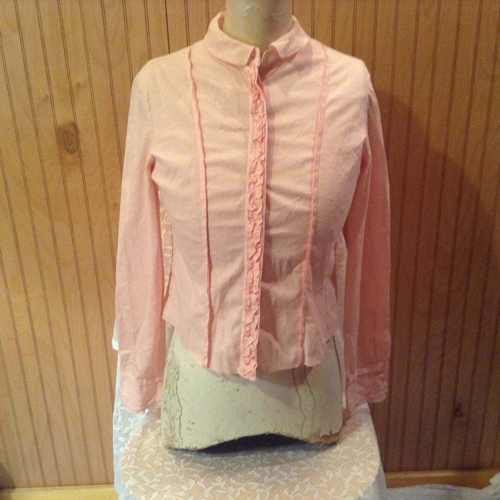 Caractere Light Pink Button Down Long Sleeve Shirt Made in Italy Vintage Size 6
