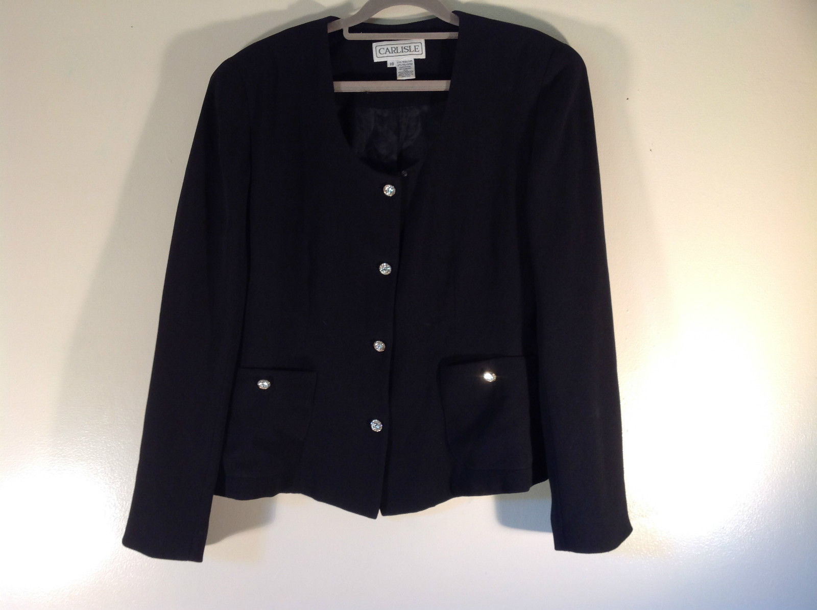 Carlisle Size 10 Scoop Neck Black Blazer Jacket 4 Button Closure 2 Front Pockets