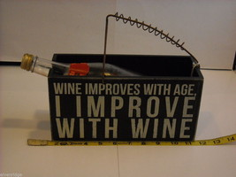 """Black Wooden Box Wine Caddy """"Drinking the Finest Wines Creates..."""" Saying image 2"""