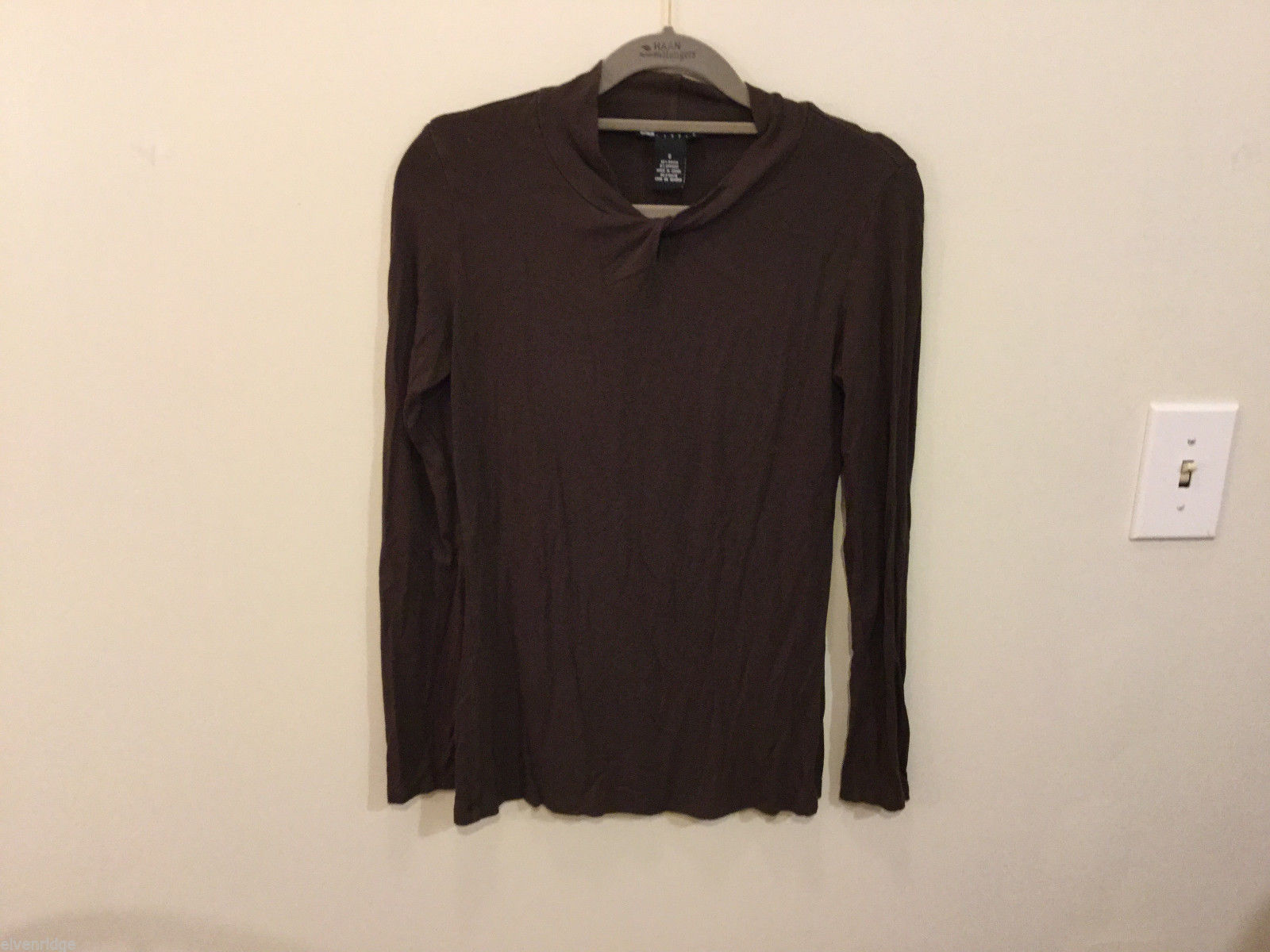 Carole Little Brown Mock with Knot Neck Stretchable Rayon Blouse Top, Size S