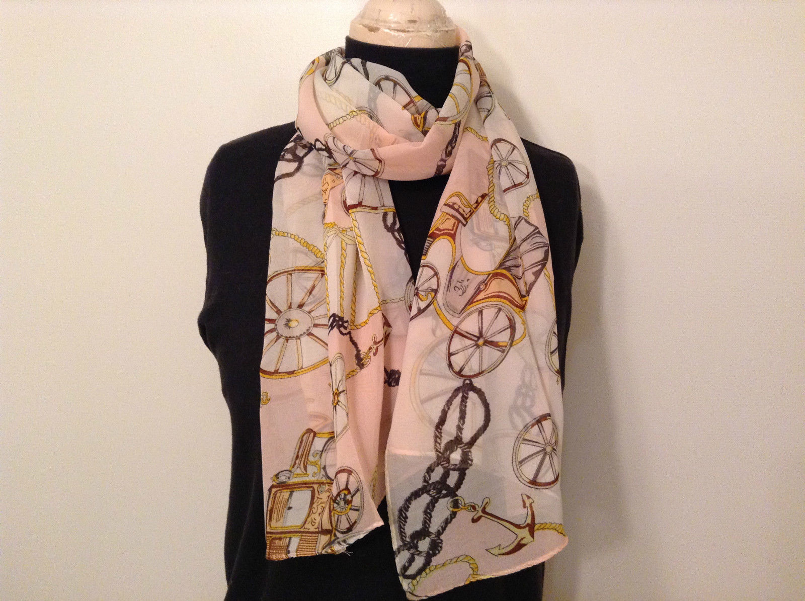 Carriages Pattern Light Pink Brown Tan Scarf 100 Percent Polyester NEW