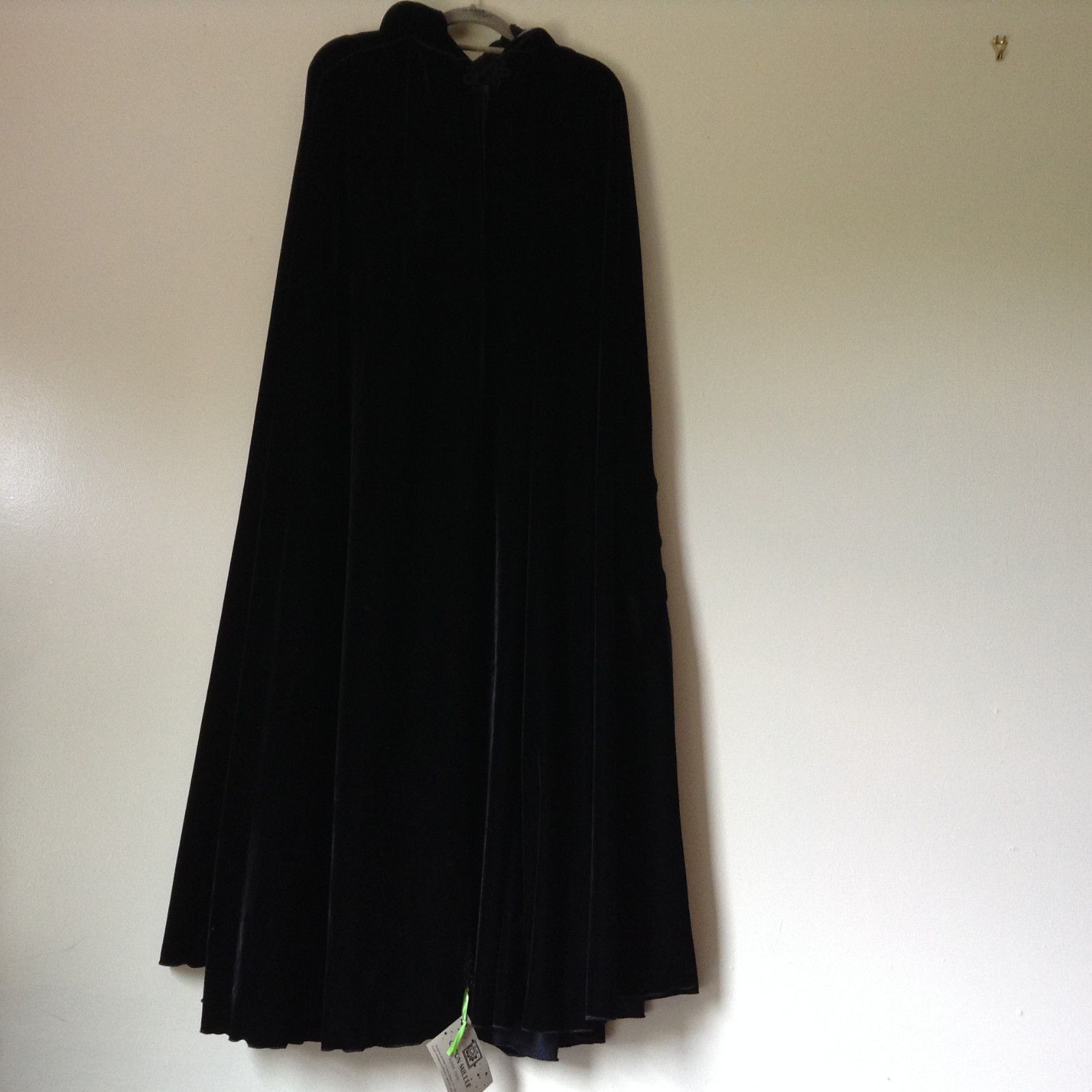 Caron Miller Ruana Capes Black Velour Cape with Hood Measurements Below