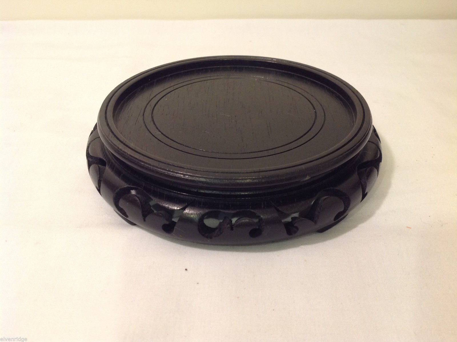 Carved Wood Asian Style Low Round Indoor Black Stand Great For Displaying