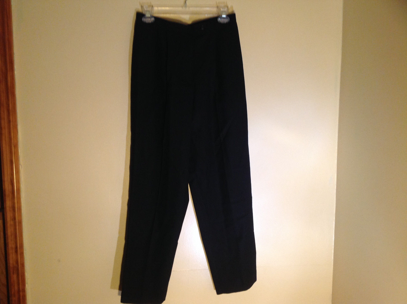 Cambell High Waisted Black Pleated Dress Pants Zip and Button Closure Size 10 P