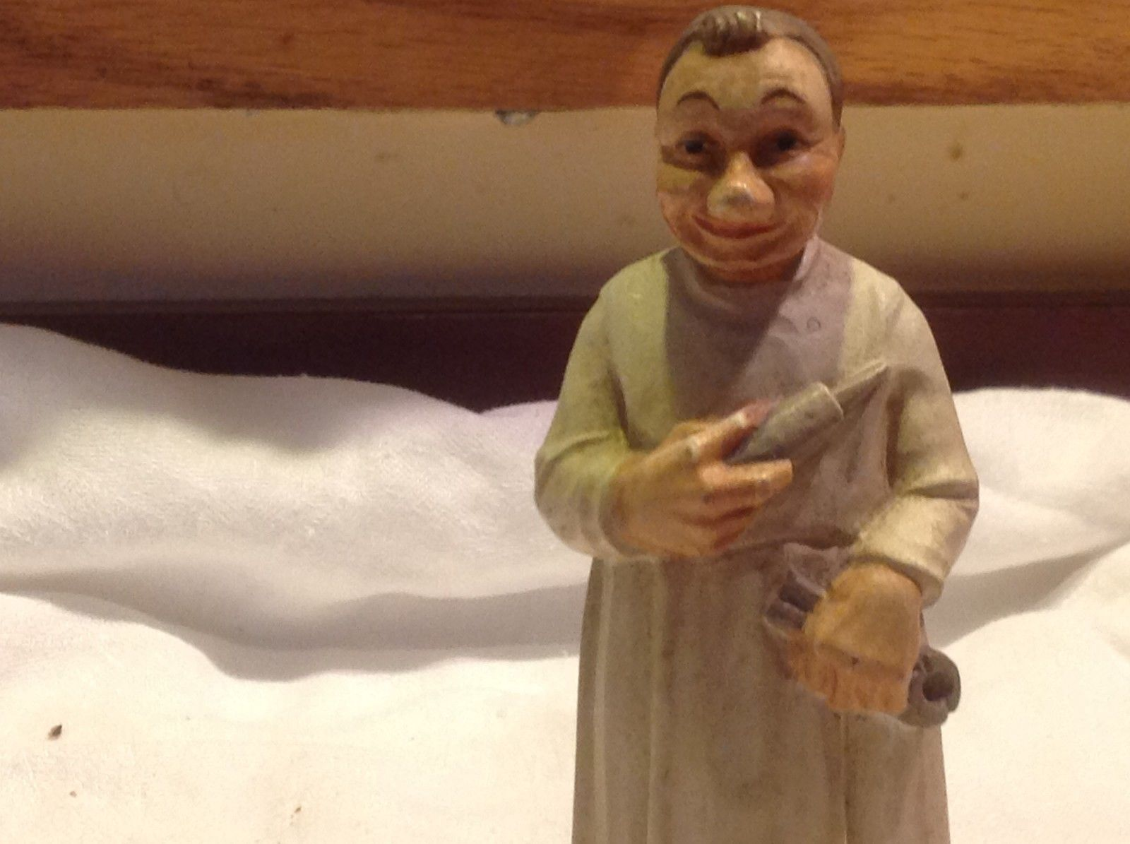 Carved and Painted wood Working Monk Figurine on stand Italy