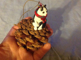 Black and White Cat Ornament Real Red Pine Cone Real Fabric for Scarf image 3