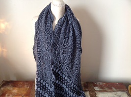 Black and Gray Boho Style Scarf with Dots image 2