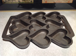Cast Iron Vintage Cookie Mold Heavy Bakes 9 Heart Shaped Cookies image 1