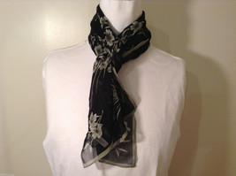 Casual Corner ANNEX Sheer Black Gray with White Floral pattern 100% silk scarf