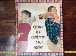 Cat Hair is a Condiment People with Cats Printed Dish Towel by Fiddlers Elbow