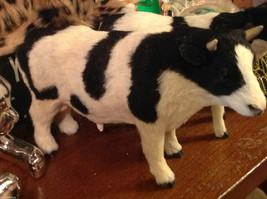 Black and White Holstein Bull Animal Figurine - recycled rabbit fur image 3