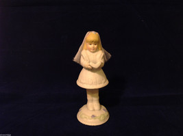Ceramic First Communion Hand Painted Girl Figurine with Veil, White.