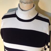 Black and White Striped Long Sleeve Turtleneck Sweater Worthington Size XL image 2