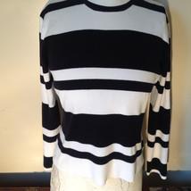 Black and White Striped Long Sleeve Turtleneck Sweater Worthington Size XL image 3