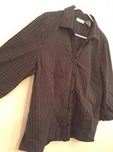 Black and White Striped Long Sleeve Button Up Shirt Croft and Burrow Size Large image 3