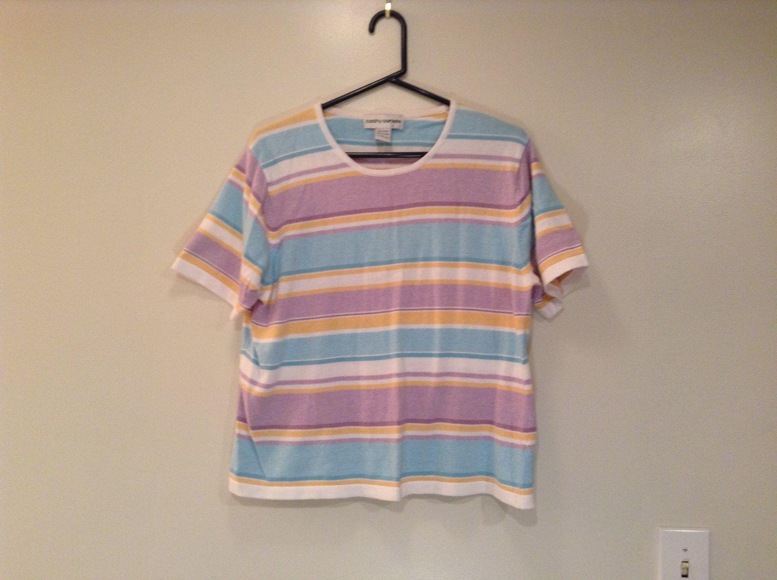 Cathy Daniels Size L White Blue Yellow Lavender Stripes Scoop Neck Cotton Top