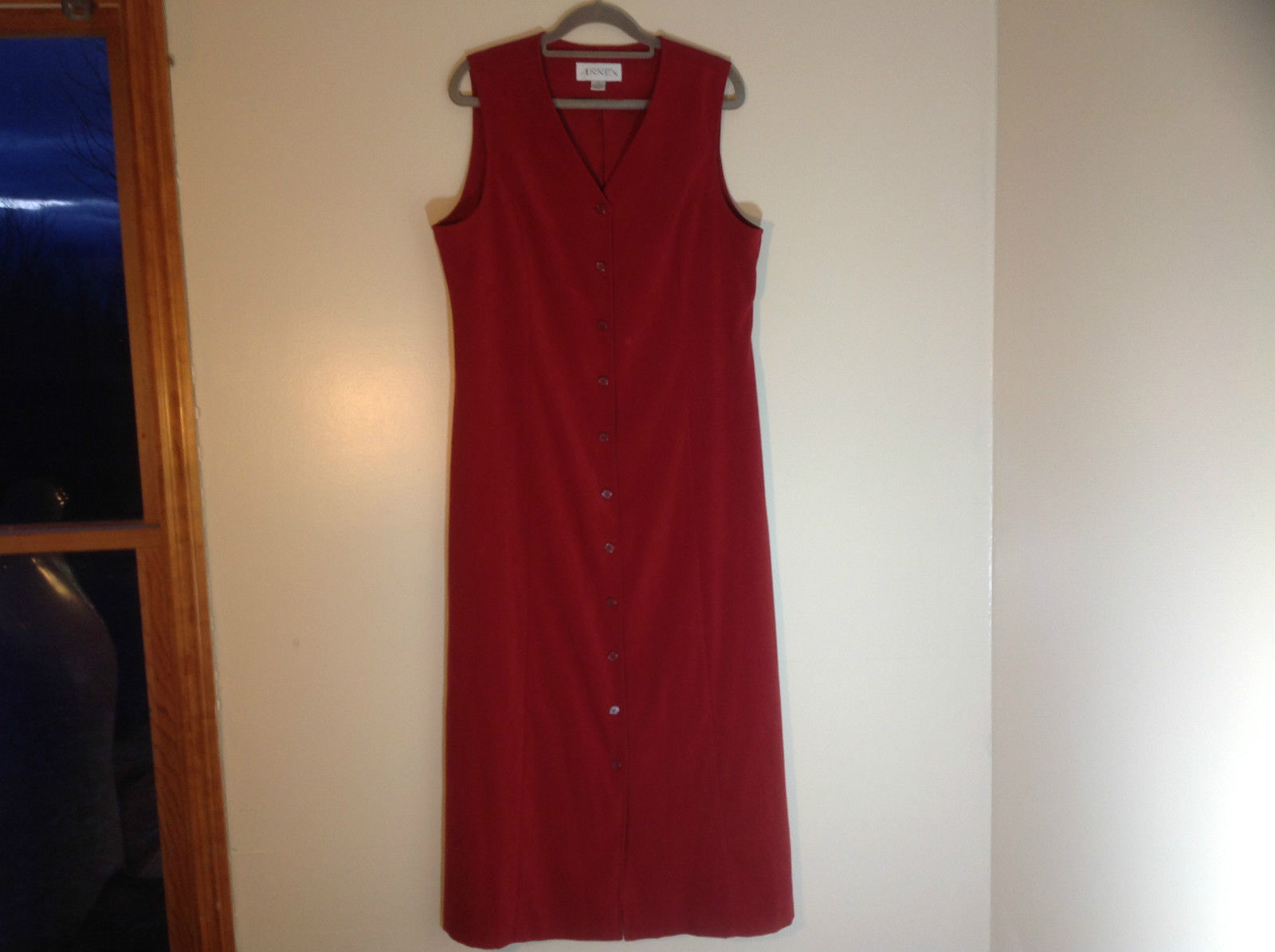 Casual Corner Annex Full Length Red Button Up V-Neck Dress Size 12