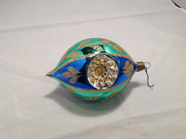 Blue Green Oval Blown Glass Gold Glitter Leaves Holiday Ornament image 5