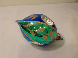 Blue Green Oval Blown Glass Gold Glitter Leaves Holiday Ornament image 3