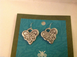 Celtic Heart earrings USA hand made in pewter with sterling silver ear wires
