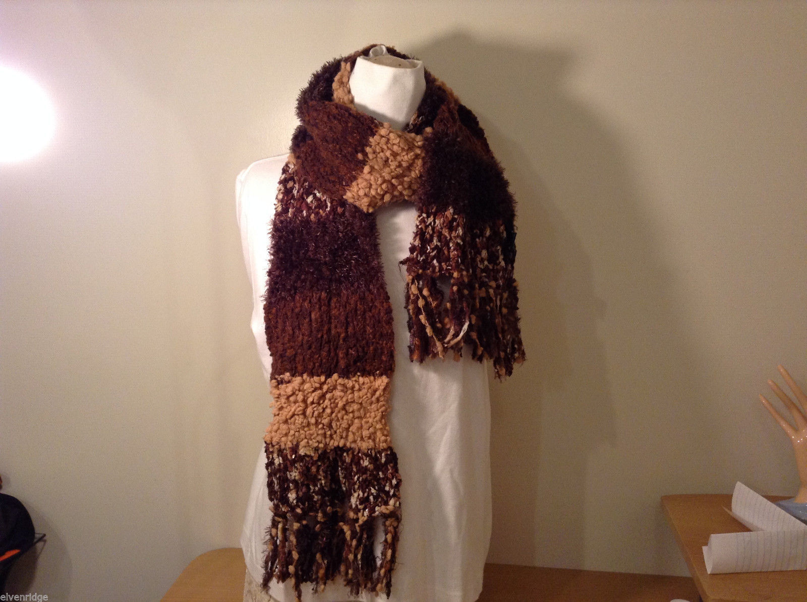 Cejon brown tan white fleece feel knitted scarf with fringes