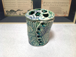 Ceramic Blue Green Handmade Toothbrush Holder large family cleans inside